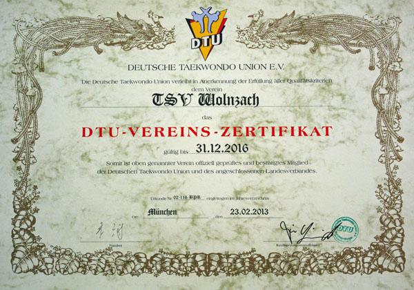 DTU-Vereinszertifikat
